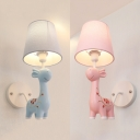 Animal Blue/Pink Wall Sconce Giraffe 1 Bulb Resin Sconce Light with Fabric Shade for Kindergarten