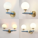 Glass Orb Wall Sconce with Resin Airplane 1 Head Modern Style Sconce Light in Blue/White for Kid Bedroom