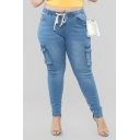Womens Plus Size New Fashion Drawstring Waist Flap Pocket Skinny Fit Jeans