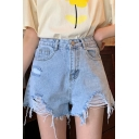 Cool Street Fashion Light Blue Exposed Flag Pocket Shredded Denim Shorts