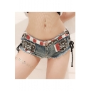 Summer Hot Popular Flag Pattern Distressed Frayed Hem Lace-Up Side Light Blue Night Club Hot Pants Denim Shorts