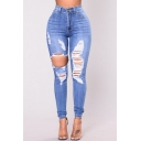 Womens Trendy Destroyed Ripped Hole Stretch Fit Light Blue Skinny Jeans