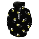 Funny Allover Bee Animal Printed Long Sleeve Unisex Black Hoodie
