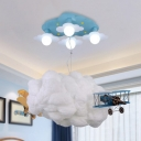 Cloud Living Room Pendant Light with Plane Cotton Metal Modern Creative Hanging Light in White