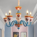 Cartoon Element Chandelier with Candle 5 Heads Modern Stylish Metal Pendant Light for Kid Bedroom