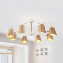 Nordic Style Antlers Chandelier Wood 3/5/8 Lights Beige Pendant Light for Child Bedroom