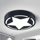 Simple Style Star Ceiling Mount Light Acrylic Black/White Flush Light with Stepless Dimming/Warm/White Lighting for Teen