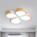 Nordic Style Teardrop Ceiling Mount Light 4 Heads Wood Flush Light in Neutral/White for Balcony