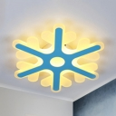 Macron Loft Snowflake Ceiling Mount Light Acrylic LED Flush Light in Blue/Pink for Nursing Room