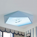 Acrylic Airplane/Ship Flush Mount Light Modern Style Stepless Dimming Ceiling Fixture in Blue for Boys Bedroom