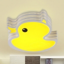 Cartoon Duck LED Flush Mount Light Metal Stepless Dimming/White Ceiling Lamp in Yellow for Game Room
