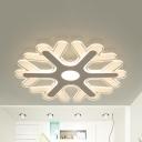 Kid Bedroom Snowflake Ceiling Light Acrylic Modern Stylish Warm Yellow/White LED Flushmount Light