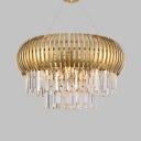 Fence Shaped Hotel Restaurant Chandelier Metal Luxurious Hanging Light with Clear Crystal in Gold
