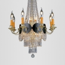 14 Lights Candle Chandelier with Crystal Bead Vintage Style Metal Hanging Light in Gold for Foyer