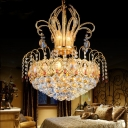 European Style Crown Chandelier Metal Gold Pendant Light with Eye-Catching Crystal for Hotel
