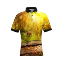 Guys Cool 3D Animal Printed Short Sleeve Fitted Yellow Polo Shirt