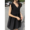 Summer Girls Stylish Solid Color V-Neck Ruffled Hem Mini Smock Dress