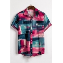 Mens Summer Fashion Blue and Red Color Block Short Sleeve Button Front Loose Fit Shirt