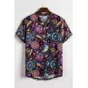 Fashion Tribal Circle Printed Mens Short Sleeve Button Front Loose Fit Shirt