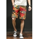 National Style Printed Drawstring Waist Cotton and Liner Casual Shorts