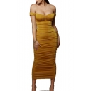 Womens New Stylish Sexy Off the Shoulder Solid Color Pleated Maxi Bandage Dress Party Dress