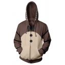New Trendy Comic Cosplay Costume 3D Printed Long Sleeve Zip Up Sport Loose Hoodie