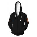 Fashion Cool Fire Skull Monster Printed Long Sleeve Zip Up Black Comic Unisex Hoodie