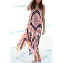 Womens Stylish Boho Style Tribal Printed V-Neck Sleeveless Maxi Beach Slip Dress