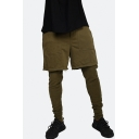 Trendy Solid Color Fake Two Pieces Casual Slim Fit Pencil Pants