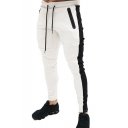 Stylish Contrast Patched Zipped Pocket Drawstring Waist Skinny Sport Pencil Pants