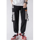 New Fashion Buckle Strap Colorblocked Pocket Drawstring Waist Men's Cotton Cargo Pants