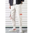 Men's Stylish Contrast Buckle Strap Flap Pocket Drawstring Waist Casual Loose Cargo Pants