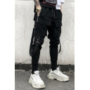 Trendy Personalized Double Flap Pocket Buckle Strap Ribbon Embellishment Letter Printed Drawstring Waist Men's Black Cotton Cargo Pants