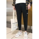 Men's Casual Fashion Letter Embroidery Stripe Side Fake Pocket Straight Cargo Pants