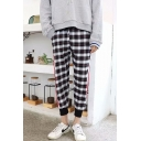 Casual Fashion Plaid Pattern Contrast Stripe Side Drawstring Waist Men's Relaxed Track Pants