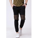 Hot Fashion Contrast Patched Casual Sport Cotton Sweatpants for Men