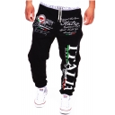 Hot Fashion Letter Graphic Printed Contrast Drawstring Waist Casual Loose Sport Sweatpants for Men