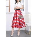 Womens Hot Popular Red Pattern Summer Midi A-Line Flared Pleated Skirt