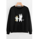 Girls Cute Cat Printed Basic Round Neck Long Sleeve Pullover Casual Loose Sweatshirt
