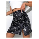 Fancy Black Allover Butterfly Print Sexy Split Side Mini Bodycon Velvet Skirt
