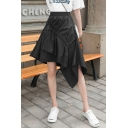 Girls Summer Trendy Plain High Rise Ruched Detail A-Line Asymmetrical Skirt