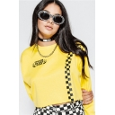 Girls Cool Letter BEAUTY HAS NO RACE Checkerboard Printed Round Neck Long Sleeve Yellow Cropped Dance Sweatshirt