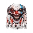 Popular Cool Blood Star Clown Printed Round Neck Long Sleeve White Casual Sweatshirt