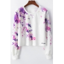 Trendy Purple Floral Printed Round Neck Long Sleeve Crop Sweatshirt