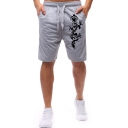 Summer Fashion Dragon Printed Drawstring Waist Casual Relaxed Sweat Shorts For Men