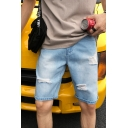 Fashion Ripped Detail Simple Plain Zip-fly Light Blue Casual Denim Shorts for Men