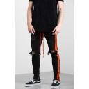 Men's Stylish Stripe Side Knee Cut Drawstring Waist Black Ripped Jeans