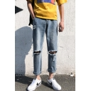 Men's Simple Plain Fashion Knee Cut Rolled Cuffs Straight Relaxed Fit Light Blue Ripped Jeans