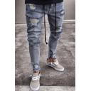 Men's Trendy Cool Knee Cut Vintage Washed Zip Cuffs Blue Ripped Biker Jeans