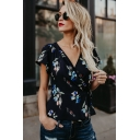 Womens Summer Vintage Floral Printed Surplice V-Neck Tied Waist Blouse Top
